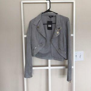 Lulus NWT grey faux leather moto jacket medium